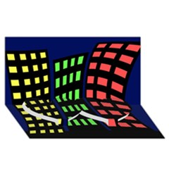 Colorful abstract city landscape Twin Heart Bottom 3D Greeting Card (8x4)