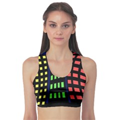 Colorful abstract city landscape Sports Bra