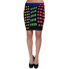 Colorful abstract city landscape Bodycon Skirt