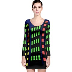 Colorful abstract city landscape Long Sleeve Bodycon Dress