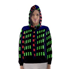 Colorful abstract city landscape Hooded Wind Breaker (Women)