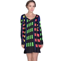 Colorful abstract city landscape Long Sleeve Nightdress