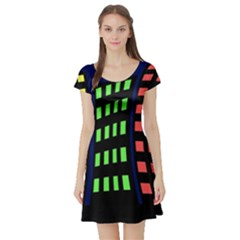 Colorful abstract city landscape Short Sleeve Skater Dress