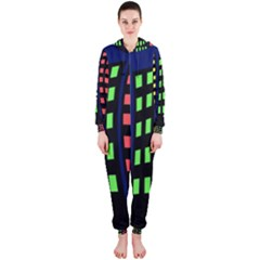 Colorful abstract city landscape Hooded Jumpsuit (Ladies)