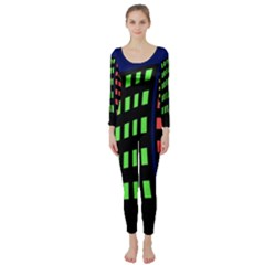 Colorful abstract city landscape Long Sleeve Catsuit