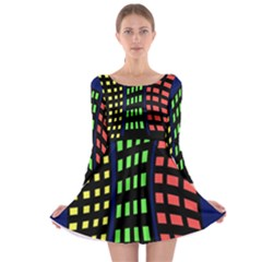 Colorful abstract city landscape Long Sleeve Skater Dress