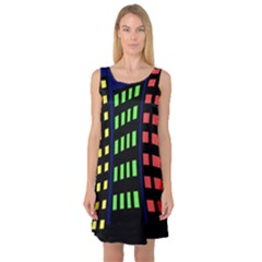 Colorful abstract city landscape Sleeveless Satin Nightdress