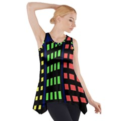 Colorful Abstract City Landscape Side Drop Tank Tunic