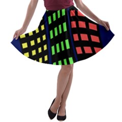 Colorful abstract city landscape A-line Skater Skirt