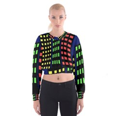 Colorful abstract city landscape Women s Cropped Sweatshirt