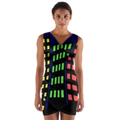 Colorful abstract city landscape Wrap Front Bodycon Dress