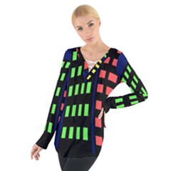 Colorful abstract city landscape Women s Tie Up Tee