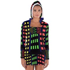 Colorful abstract city landscape Women s Long Sleeve Hooded T-shirt