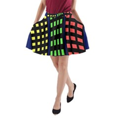 Colorful abstract city landscape A-Line Pocket Skirt