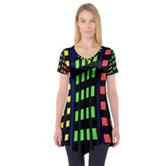 Colorful abstract city landscape Short Sleeve Tunic