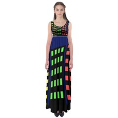 Colorful abstract city landscape Empire Waist Maxi Dress