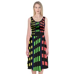 Colorful abstract city landscape Midi Sleeveless Dress