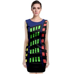 Colorful abstract city landscape Classic Sleeveless Midi Dress