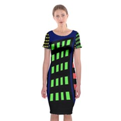 Colorful abstract city landscape Classic Short Sleeve Midi Dress