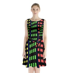 Colorful Abstract City Landscape Sleeveless Waist Tie Dress