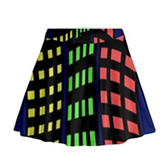 Colorful Abstract City Landscape Mini Flare Skirt