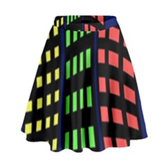 Colorful abstract city landscape High Waist Skirt