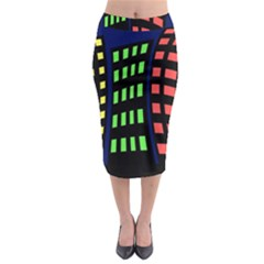 Colorful abstract city landscape Midi Pencil Skirt