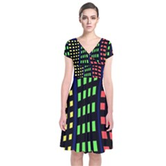 Colorful abstract city landscape Short Sleeve Front Wrap Dress
