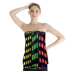 Colorful abstract city landscape Strapless Top