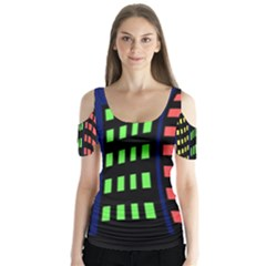Colorful abstract city landscape Butterfly Sleeve Cutout Tee
