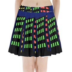 Colorful abstract city landscape Pleated Mini Mesh Skirt