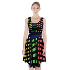 Colorful Abstract City Landscape Racerback Midi Dress