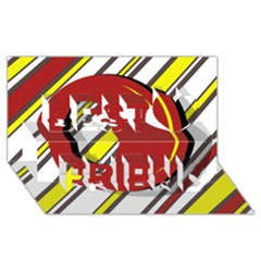 Red and yellow design Best Friends 3D Greeting Card (8x4)