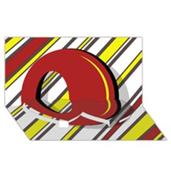 Red and yellow design Twin Heart Bottom 3D Greeting Card (8x4)