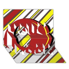 Red and yellow design You Rock 3D Greeting Card (7x5)