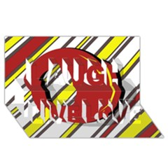 Red and yellow design Laugh Live Love 3D Greeting Card (8x4)