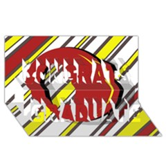 Red and yellow design Congrats Graduate 3D Greeting Card (8x4)