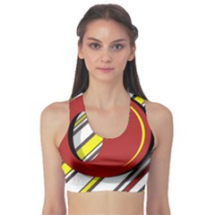Red and yellow design Sports Bra