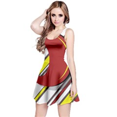 Red and yellow design Reversible Sleeveless Dress