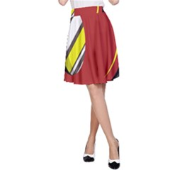 Red and yellow design A-Line Skirt