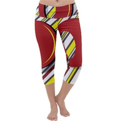 Red And Yellow Design Capri Yoga Leggings