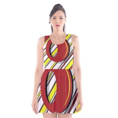 Red And Yellow Design Scoop Neck Skater Dress