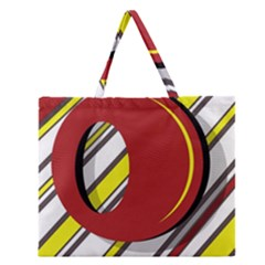 Red And Yellow Design Zipper Large Tote Bag