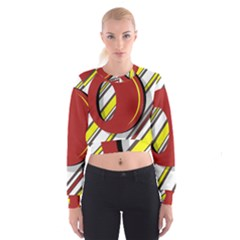 Red and yellow design Women s Cropped Sweatshirt