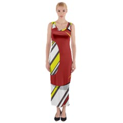 Red And Yellow Design Fitted Maxi Dress