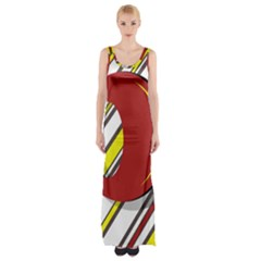 Red And Yellow Design Maxi Thigh Split Dress
