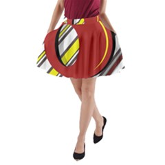 Red and yellow design A-Line Pocket Skirt