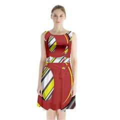Red and yellow design Sleeveless Waist Tie Dress