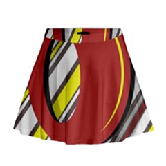 Red And Yellow Design Mini Flare Skirt