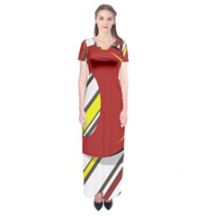 Red And Yellow Design Short Sleeve Maxi Dress
